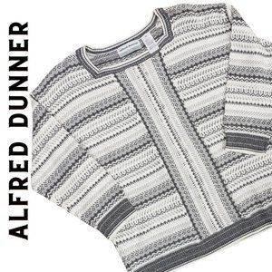 ALFRED DUNNER Petite Gray Striped Sweater LP